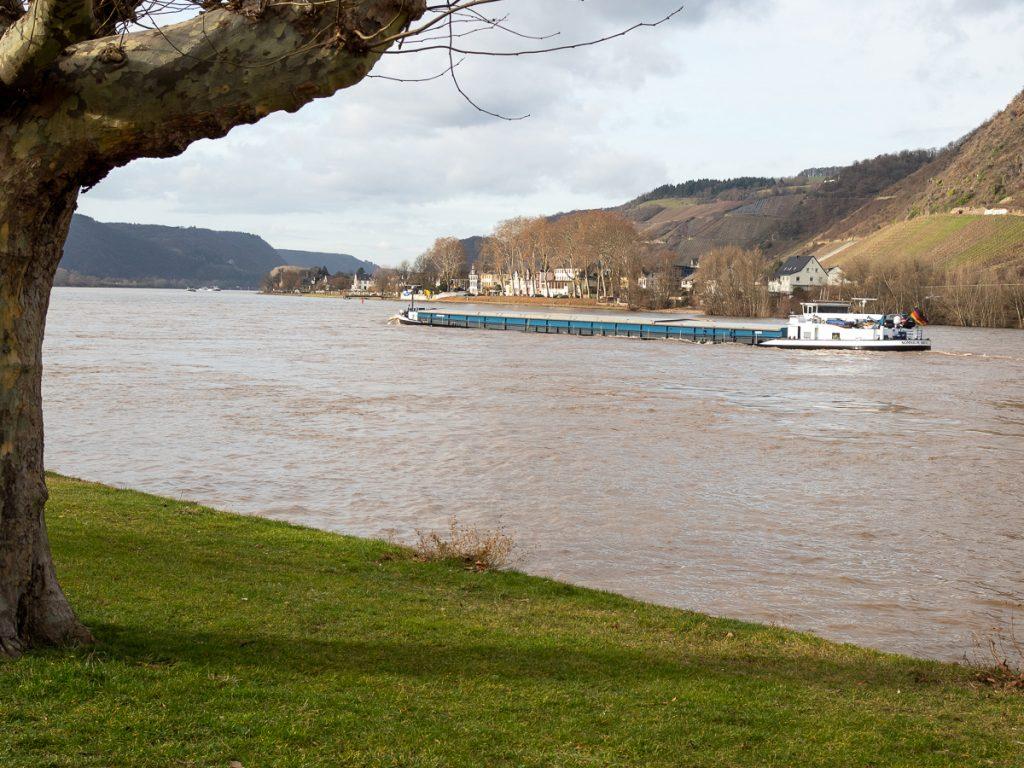 Güterschiff auf dem Rhein bei Andernach