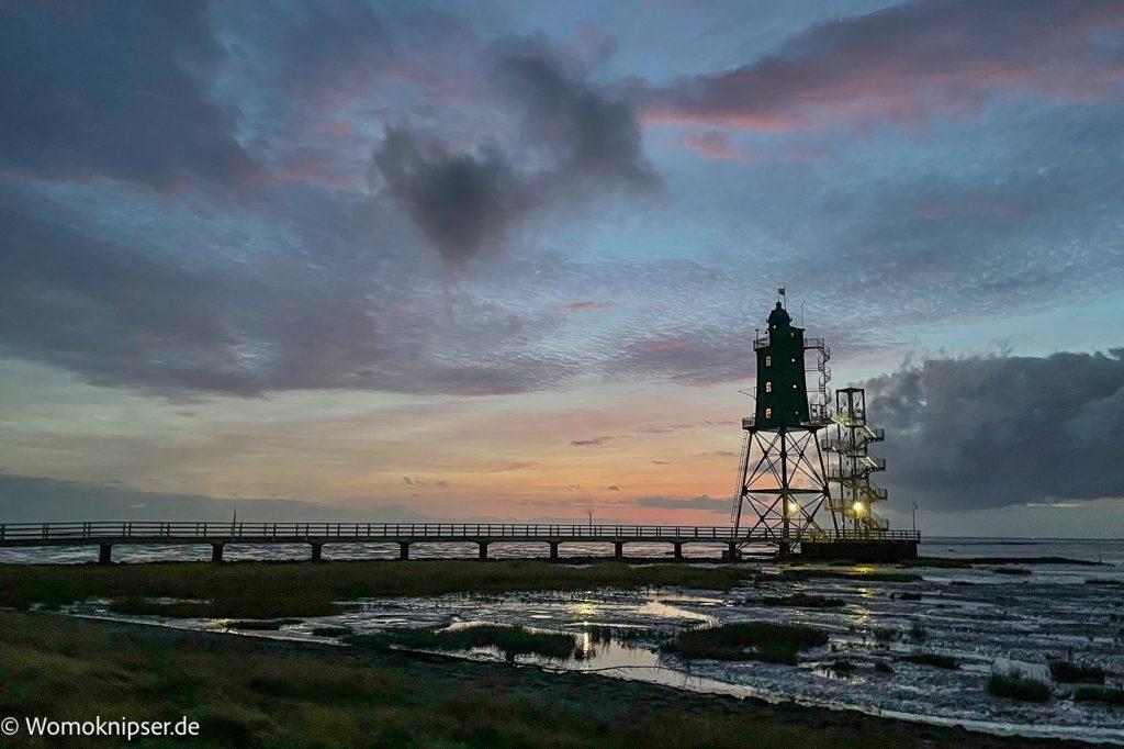 Dorum, Leuchtturm Eversand am Abend
