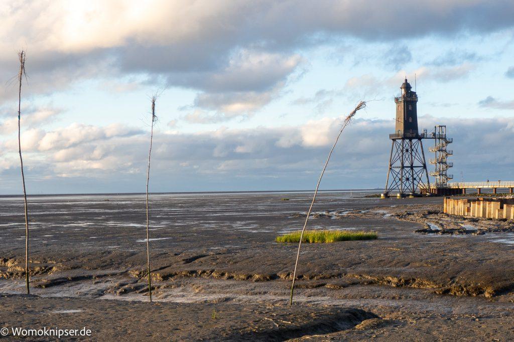 Dorum, Leuchtturm Eversand bei Ebbe