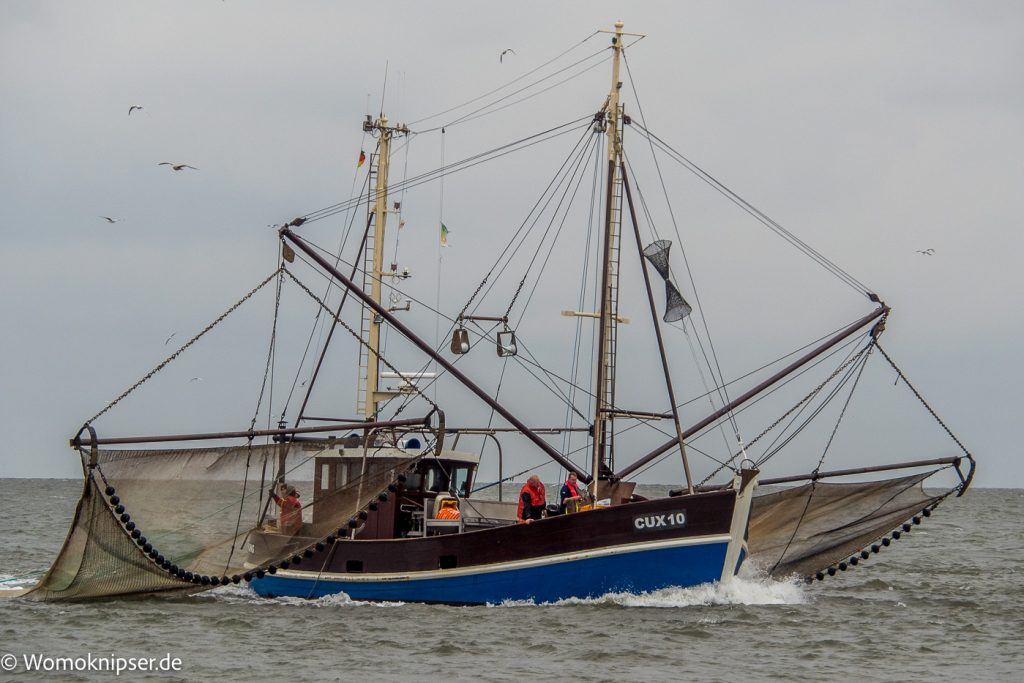 Cuxhaven an der Kugelbake Fischer bei der Arbeit